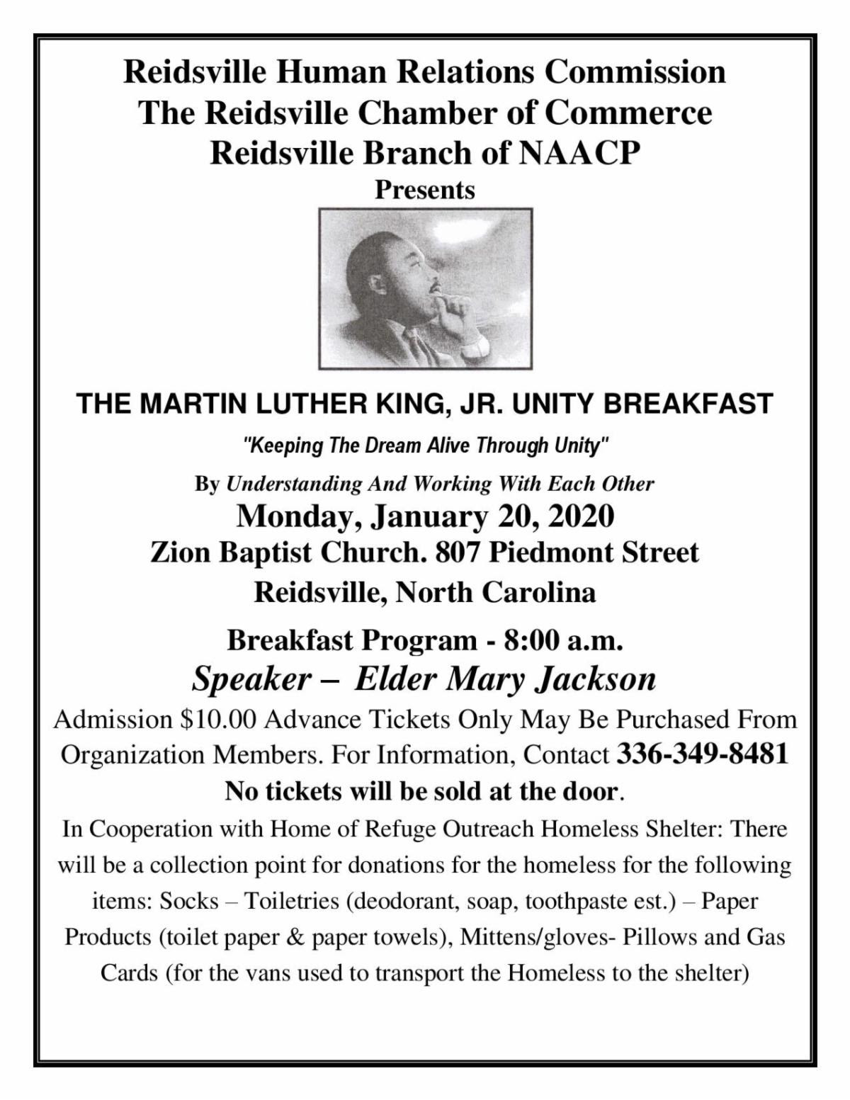 The 21st Annual Dr. Martin Luther King, Jr. Unity Breakfast