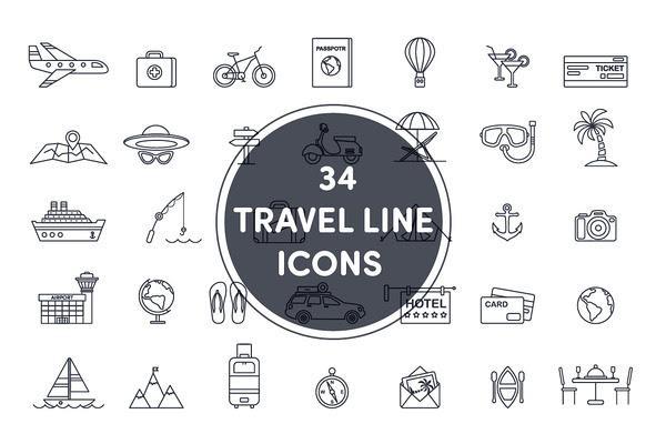 34 travel line icons