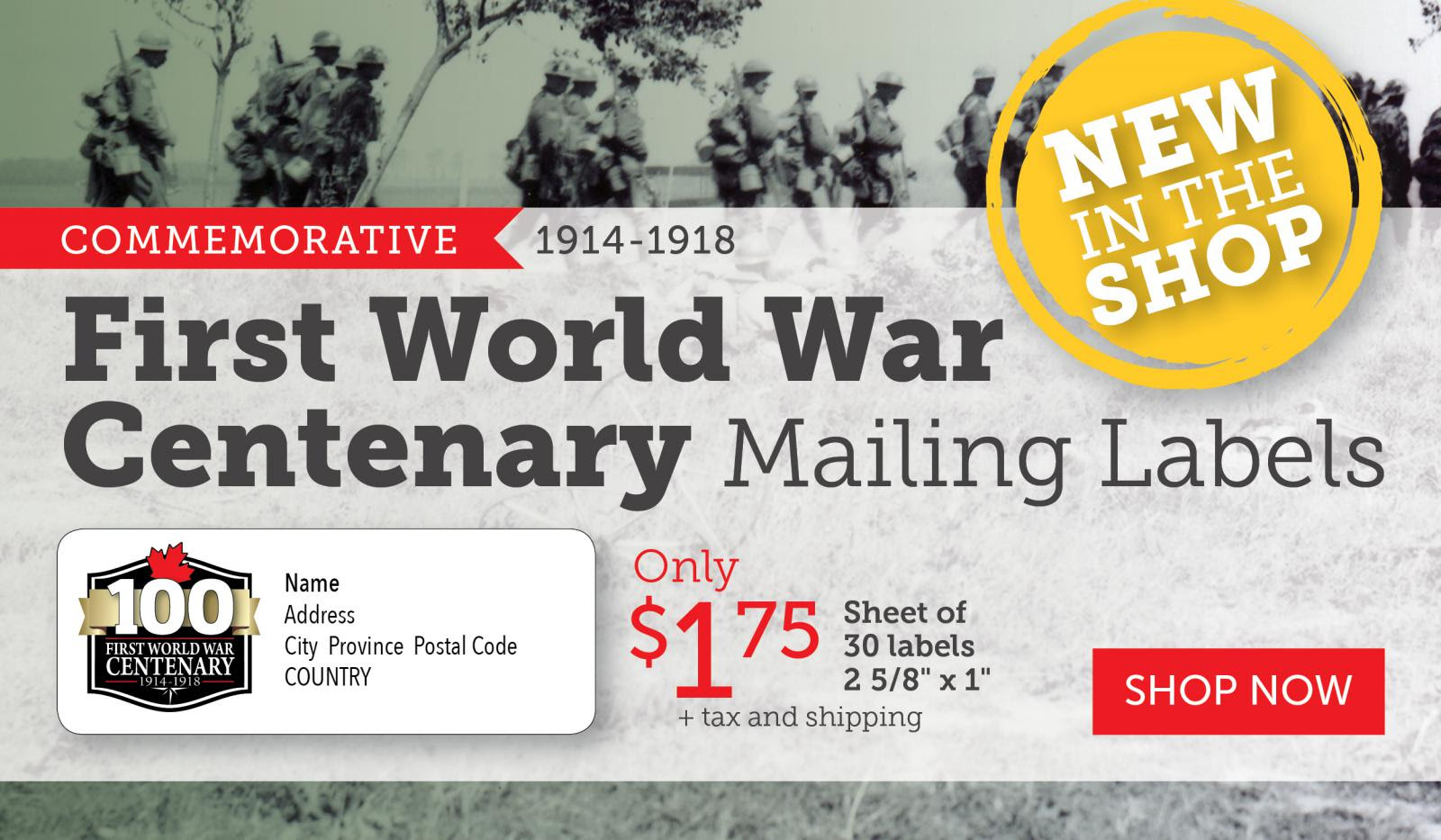Best Selling WW I Centenary Mailing Labels!