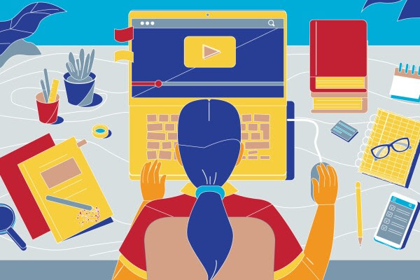 Illustration of girl working on computer at home.