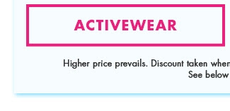 Buy One Get One Free on all Clearance - Shop Activewear!