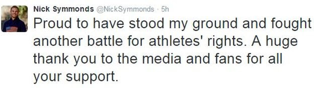 Nick Symmonds tweet