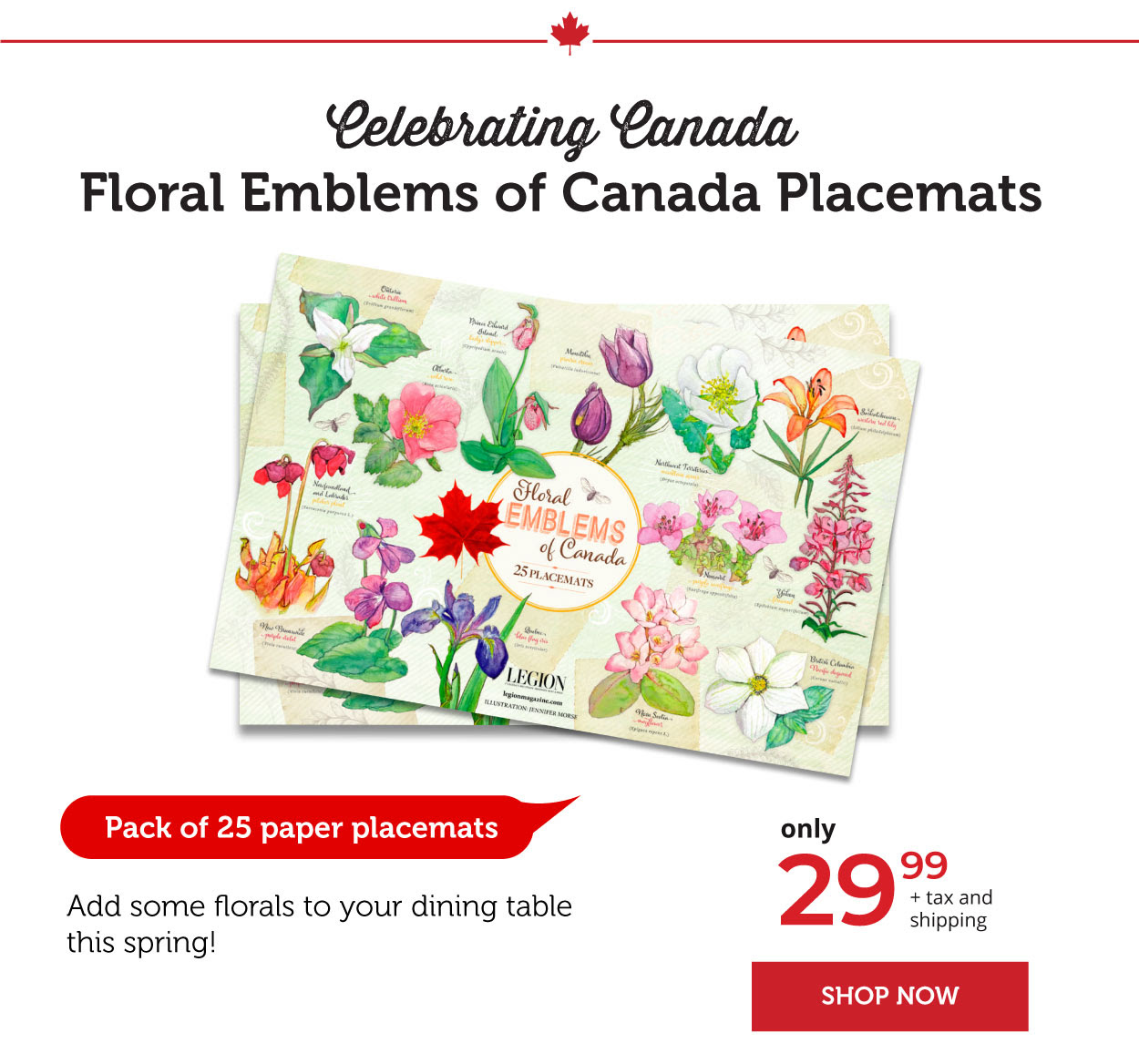 Floral Emblems of Canada Placemats