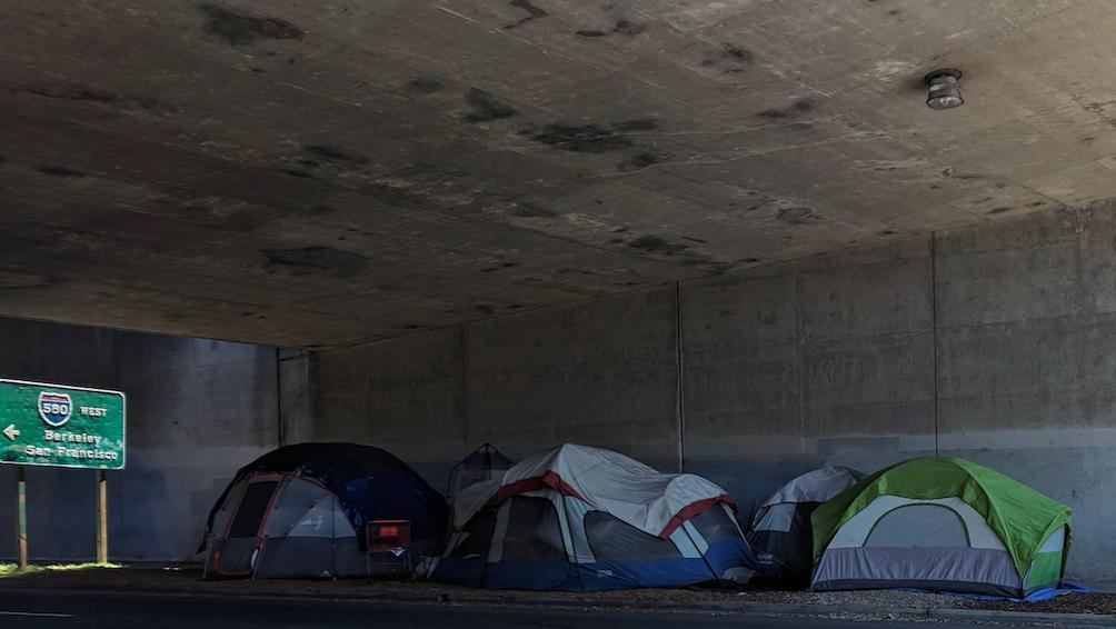 Tents under freeway