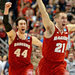Josh Gasser, right, and Frank Kaminsky celebrated after Wisconsin defeated Arizona, 64-63, in overtime on Saturday.