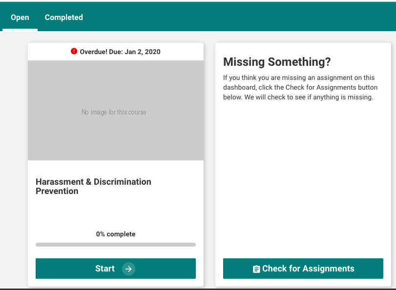 """Check for Assignments"" display on the Learner Dashboard"