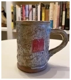 Stoneware mug with red square