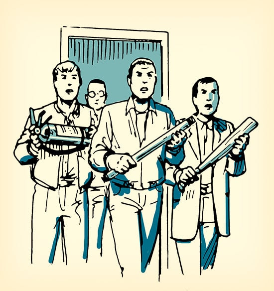 men with weapons ready to fight shooter illustration