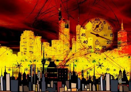 city skyscrapers clock time stopwatch seconds - public domain