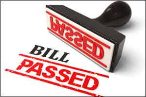 Graphic of a rubber stamp saying Bill passed