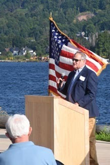 Jon Allan, director of Michigan's Office of the Great Lakes, talks at the Aug. 10 dedication ceremony at the Great Lakes Research Center in Houghton.