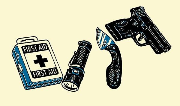 personal defense edc first aid kit knife gun flashlight illustration