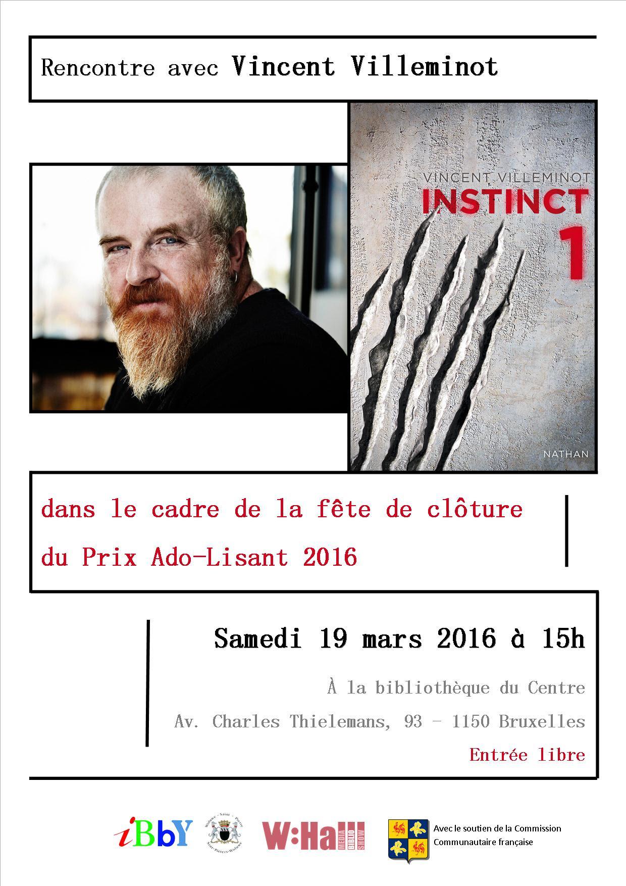 Affiche de la rencontre avec Vincent Villeminot pour la clôture du Prix Adolisant 2016