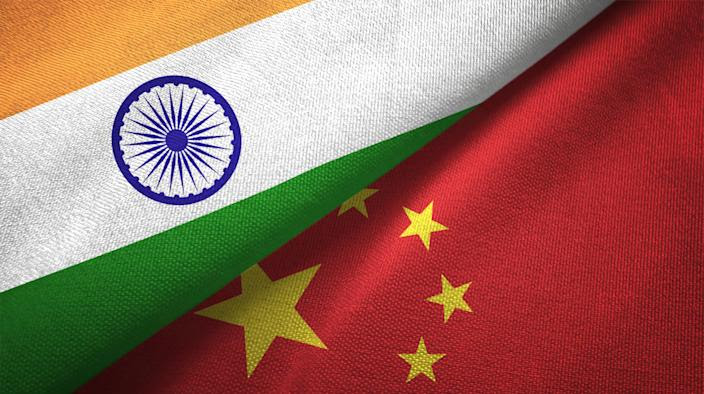 China and India flag together realtions textile cloth fabric texture