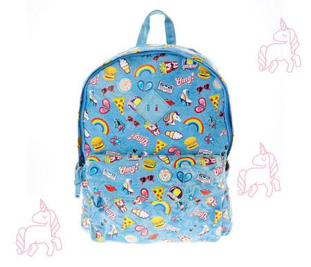 Denim Rainbow Print Backpack