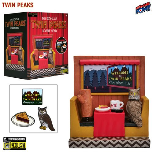 Twin Peaks Icons Bobble Head with Enamel Pin Set #1 - Convention Exclusive