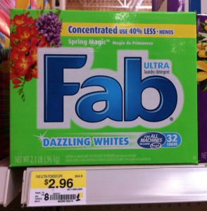 Fab Laundry Detergent Coupon Walmart Deal 294x300 Fab Detergent Only $.96 at Walmart!