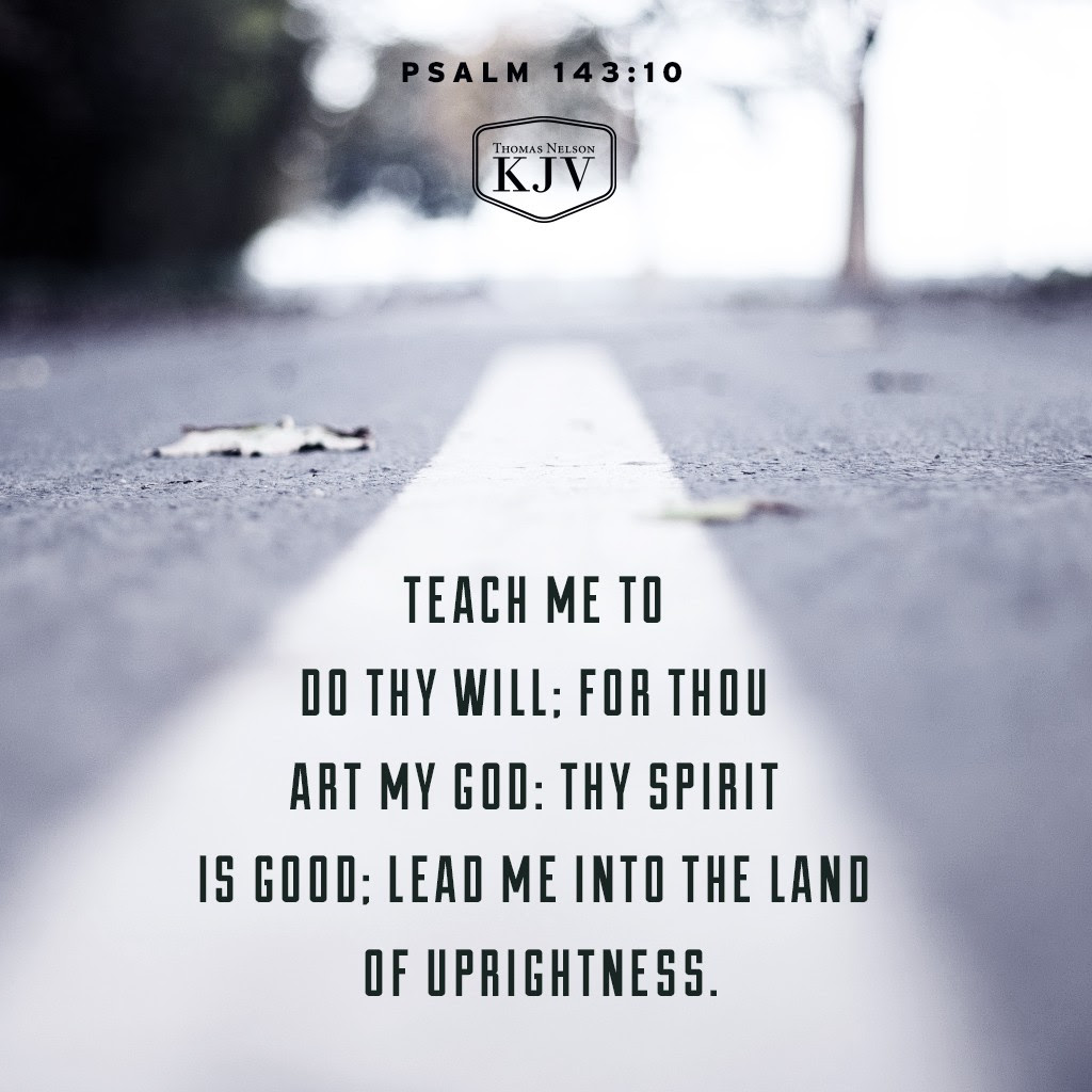 10 Teach me to do thy will; for thou art my God: thy spirit is good; lead me into the land of uprightness. Psalm 143:10