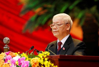 Vietnam's General Secretary of the Communist Party Nguyen Phu Trong speaks at the opening ceremony of the 13th national congress of the ruling communist party of Vietnam is seen at the National Convention Center in Hanoi, Vietnam, 26 January, 2021 (Photo: VNA/Handout via Reuters).