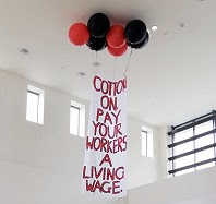 Living Wage Banner New Zealand. FIRST Union