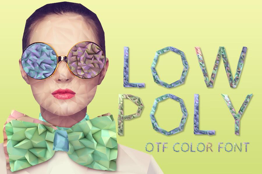 low poly otf color font