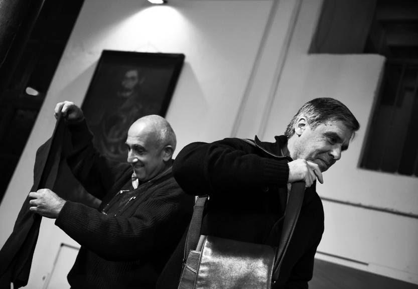 Roberto Markarian y Álvaro Rico, profesores candidatos al rectorado de la Universidad de la República, ayer en la sede del Partido Nacional. / Foto: Nicolás Celaya