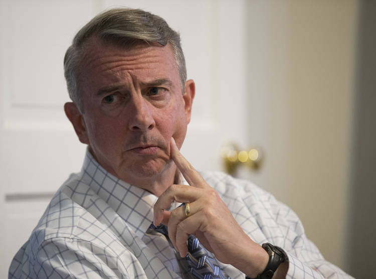 Republican gubernatorial candidate Ed Gillespie talks with a group of recovering addicts in Richmond. (Steve Helber/Associated Press)