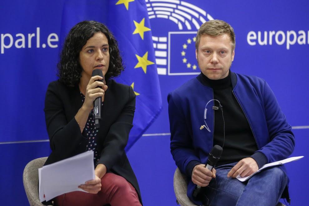 Los presidentes de la Izquierda Unitaria en el Parlamento Europeo (GUE) , Manon Aubry y Martin Schirdewan-