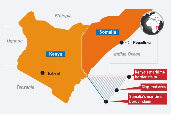 Oil and gas blocks in maritime territorial areas claimed by both Kenya and Somalia