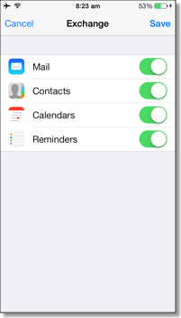Sync mail, calendar, and contacts