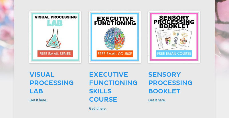 VISUAL PROCESSING LAB Get it here. EXECUTIVE FUNCTIONING SKILLS COURSE Get it here....