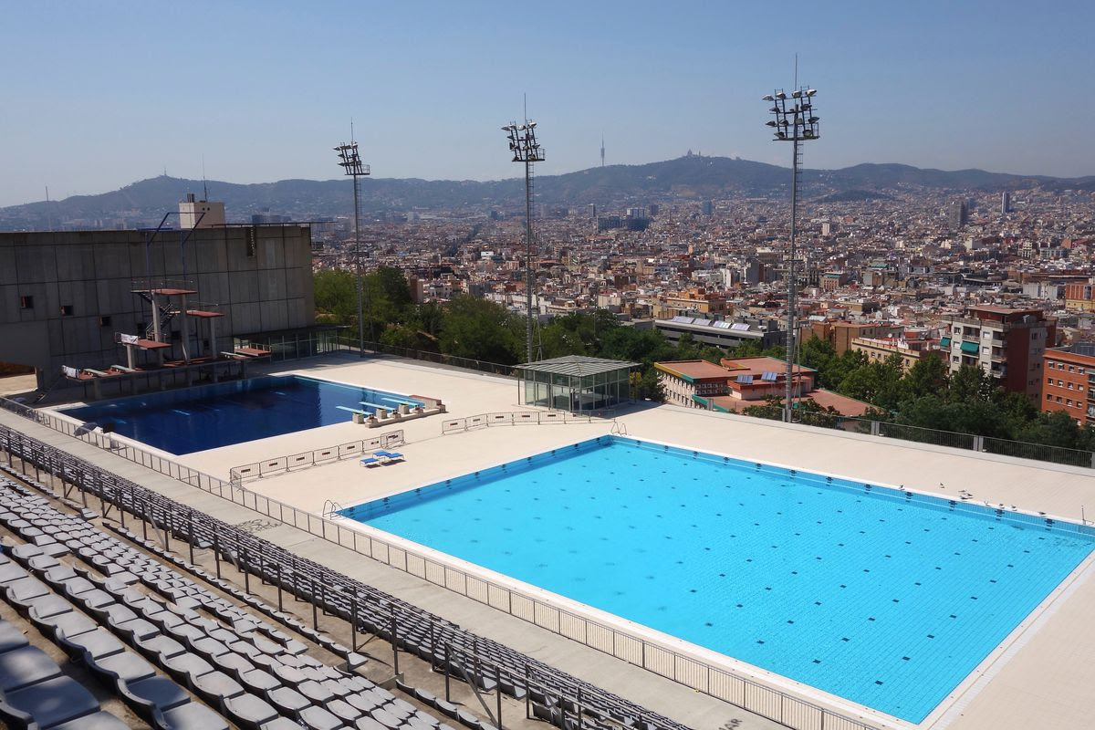 The Olympic swimming pool on Montjuic, in Barcelona.