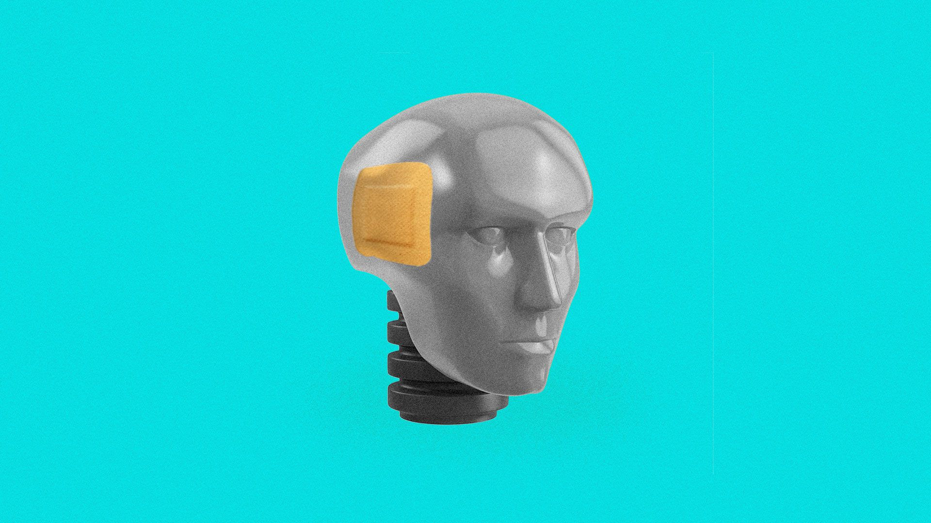 Illustration of a crash dummy head with a Band-Aid on its temple