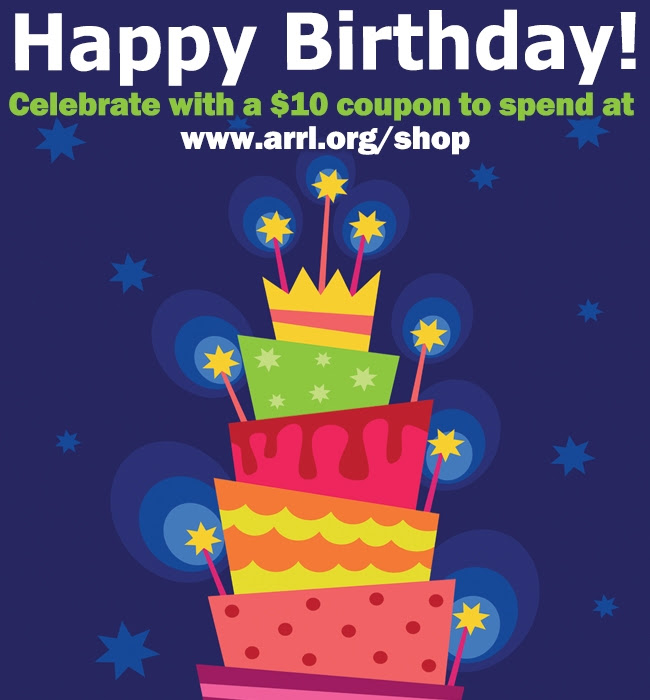 $10 Coupon! Happy Birthday from ARRL