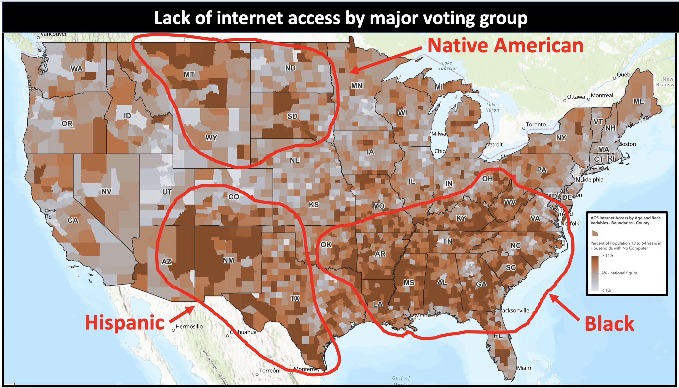 Many Black, Brown and Indigenous voters are disenfranchised by denying them access to the internet where they can get information on how to vote.