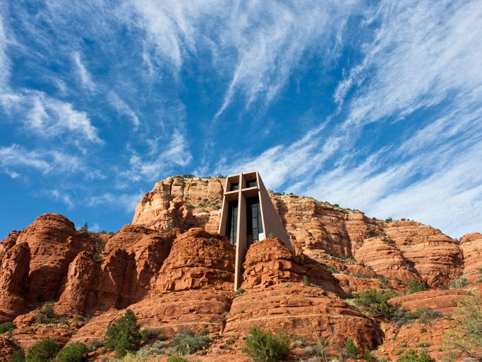 One of                                                           the world's                                                           more unusual                                                           churches, the                                                           Chapel of the                                                           Holy Cross was                                                           built directly                                                           into the red                                                           rock buttes of                                                           Sedona, Ariz.,                                                             so it seems to                                                           blend in with                                                           the natural                                                           surroundings.