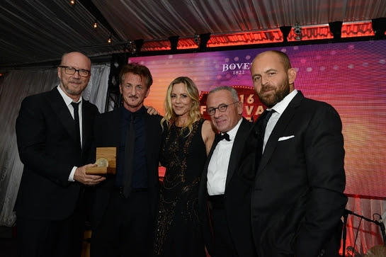 Paul Haggis, Sean Penn, Maria Bello, Mr. Pascal Raffy and David Belle at the Bovet 1822 Artists for Peace and Justice 2016 Festival Fair