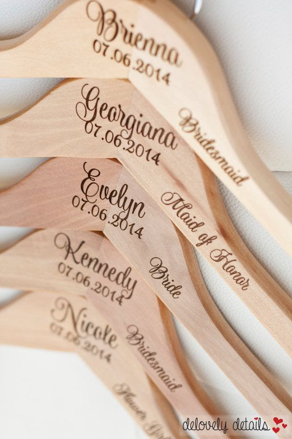 Personalized Bridesmaid Hangers - Engraved Wood Hangers - Engraved by delovely details