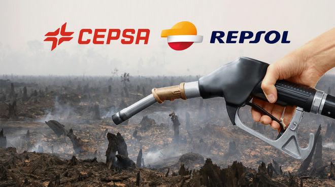 Fotomontage mit Tankstellenzapfhahn vor verbrannten Regenwald. Darüber die Logos der span. Ölfirmen CEPSA und REPSOL