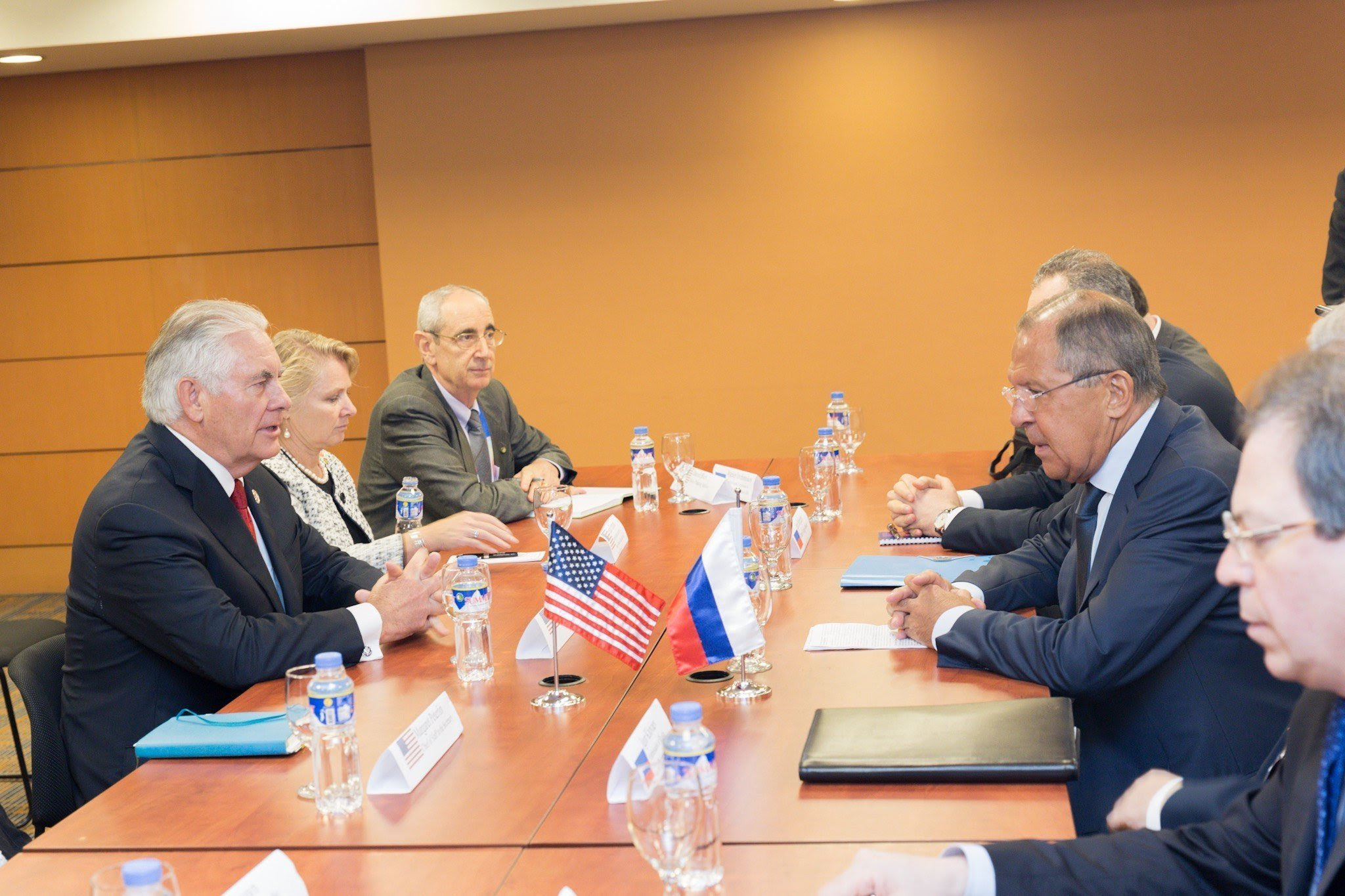 U.S. Secretary of State Rex Tillerson, left, meets Russian Foreign Minister Sergei Lavrov, second from right, on the sidelines of the ASEAN Foreign Ministers' Meeting on Sunday.