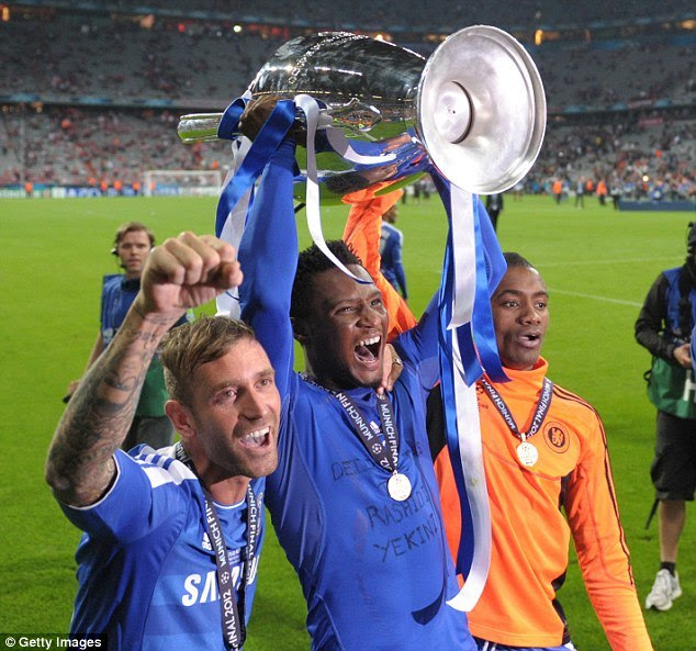 John Obi Mikel with the UEFA Champions League trophy