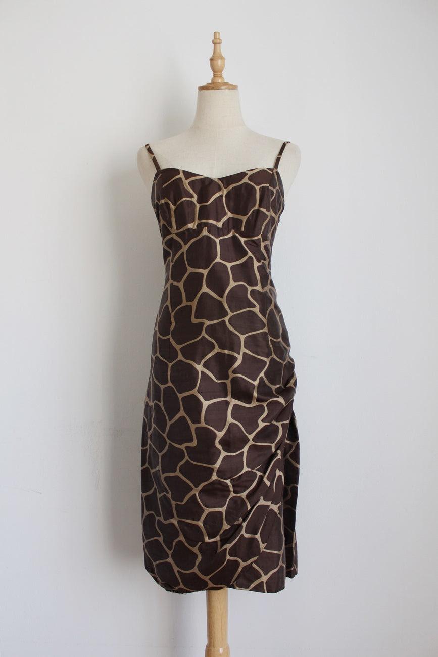 MAX MARA 100% SILK BROWN DRESS - SIZE 8
