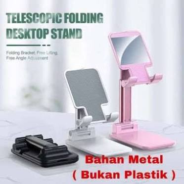 Dudukan HP / Holder Folding Dekstop Phone Stand (Stand Besi Bahan Metal)