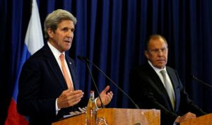 U.S. Secretary of State John Kerry and Russian Foreign Minister Sergei Lavrov hold a press conference following their meeting in Geneva, Switzerland where they discussed the crisis in Syria September 9, 2016 (Kevin Lamarque, Reuters)