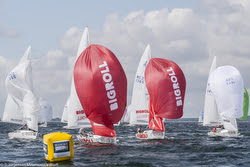 J/22s sailing spinnakers at J/22 Worlds- Travemunde, Germany
