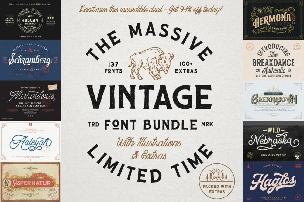 94% Off The Massive Vintage Font Bundle