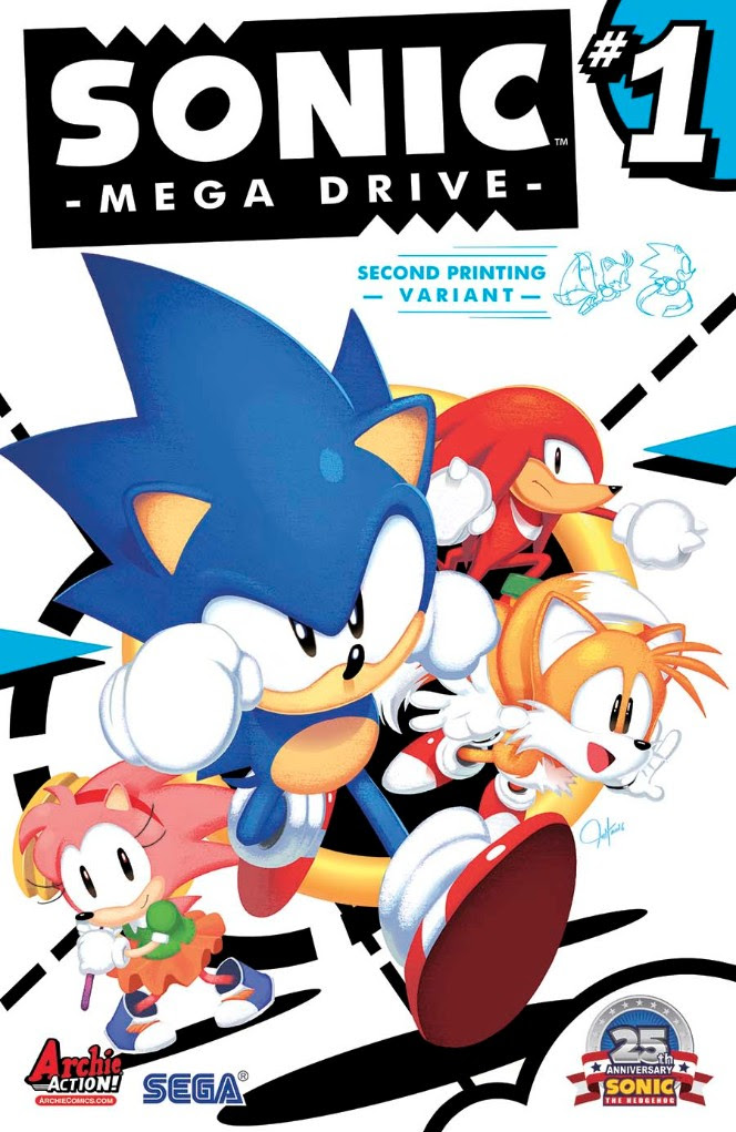 SONIC: MEGA DRIVE 2nd Printing Cover by Tyson Hesse