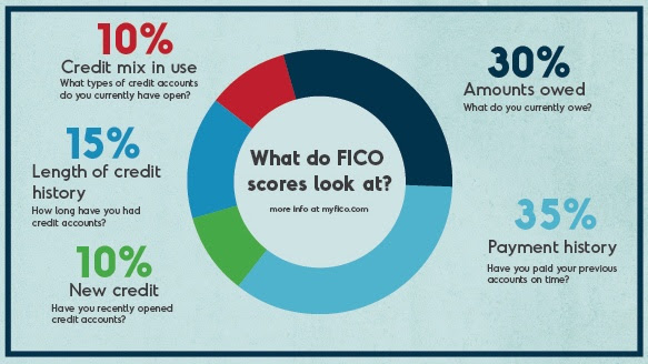 What do FICO scores look at?