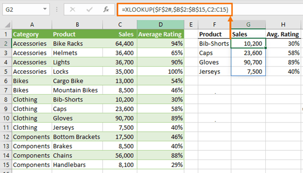 XLOOKUP in one direction