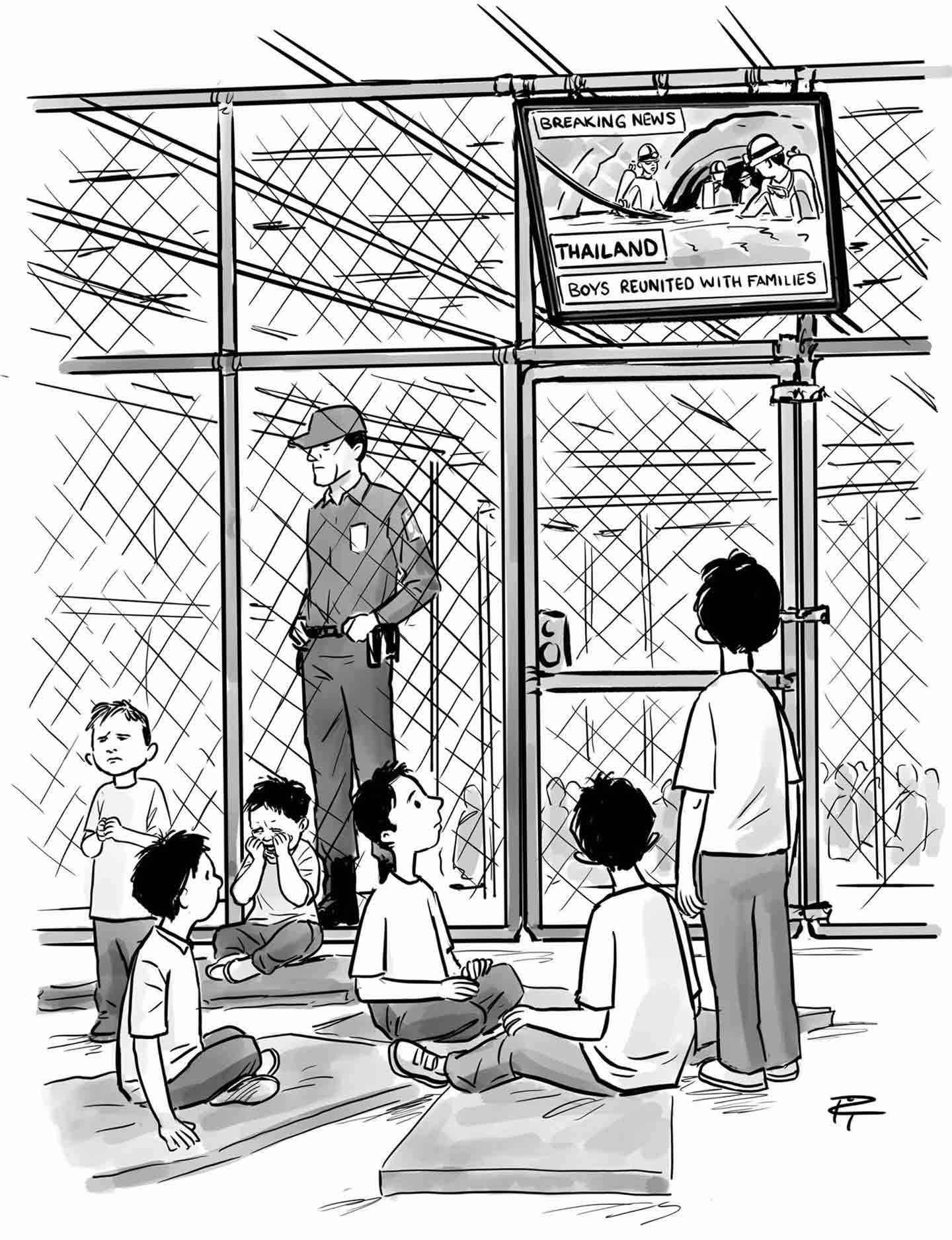 Pia Guerra cartoon shows detained children watching boys rescued in Thailand